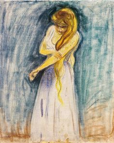 The blonde long haired girl with a peignoir  - Edvard Munch  Norwegian 1863-1944