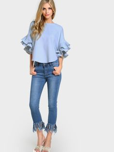 SheIn offers Pleated Ruffle Sleeve Dolphin Hem Top & more to fit your fashionable needs. Ruffle Sleeve, Flutter Sleeve, Ruffle Collar, Ruffle Top, Ruffle Blouse, Summer Shirts, Summer Tops, Blouse Styles, Corsage
