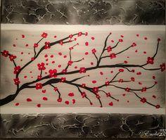 """""""Sakura"""" Tableau réalisé à la peinture acrylique, Modeling past au centre avec des paillettes argentées.... A retrouver et disponible à la vente sur mon site internet : celine-farnier.wix.com/enola69"""
