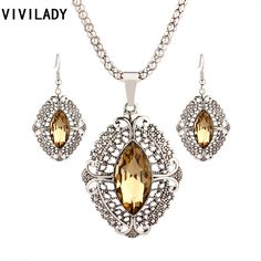 VIVILADY Retro Zinc Alloy Geometric Crystal Wedding Bridal Jewelry Sets Women Pendants Necklaces Earrings Accessories Party Gift