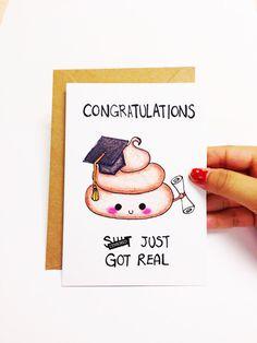 Graduation card funny, Funny graduation card cute, graduation congratulations card, sh-t just got real card, mature card, hand drawn card
