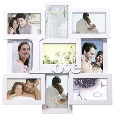 ADECO PF0309 9-Opening White Wooden Wall Hanging Collage Photo Picture Frames - Holds Nine 4x6 Inch Photos,Saying LOVE,Best Gift by ADECO, http://www.amazon.com/dp/B009JHGIP6/ref=cm_sw_r_pi_dp_csBOrb0GPBH4T