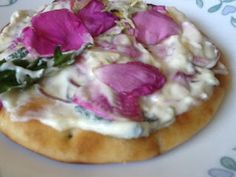 Kawartha Lakes #Recipe - Naan: On the Wild side! Dandelion- Wild Rose Topping!  A tasty appetizer photo essay from Long Beach Cottages and Trailer Park in Cameron Ontario, just west of Lindsay and south of Fenelon Falls.