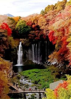 Shiraito Falls, Fujinomiya, Japan. A place near the Mount. Fuji, and ranked as the most beautifall waterfall in Japan. Near the waterfall it have some souvenier shop for tourist to buy. The best season to visit are summer and autumn..
