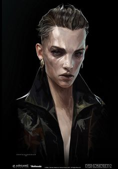 Delilah Portrait is official concept artwork used by Arkane Studios for Dishonored This limited edition Certified Art Giclee print is part of the Dnd Characters, Fantasy Characters, Female Characters, Gothic Characters, Fantasy Portraits, Character Portraits, Fantasy Rpg, Dark Fantasy, Cthulhu
