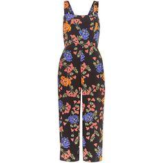 Petite Floral Tie Back Jumpsuit (320 NOK) via Polyvore featuring jumpsuits, floral print jumpsuit, flower print jumpsuit, floral jumpsuit, sleeveless jumpsuits and jump suit