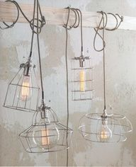 The industrial style lighting for the perfect vintage industrial home decor! The modern lighting ideas to get your home decor inspirations going! Vintage Industrial Lighting, Industrial Lamps, Home Living, Lighting Design, Lighting Ideas, Wire Lighting, Lamp Design, Design Design, Interior Design