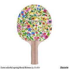 Shop Cute colorful spring floral flowers Ping-Pong paddle created by ForArt. Ping Pong Paddles, Floral Flowers, Colorful, Spring, Cute, Design, Kawaii