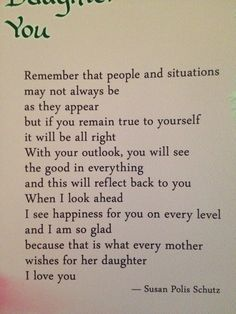 Sayings from a mother to daughter