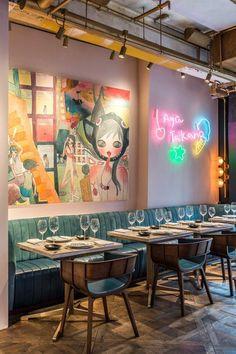 Art at Bibo, a French restaurant in Hong Kong. Art Restaurant, Restaurant Design, Cafe Bar, Hong Kong Travel Tips, Hong Kong Art, Semi Casual, French Restaurants, Stuff To Do, Cool Stuff
