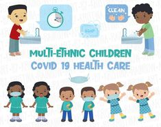 Multi-ethnic Children Covid 19 Health Care Clip Art Children | Etsy Craft Projects For Kids, School Projects, Art Children, Art For Kids, Germ Crafts, School Signage, Hand Illustration, Happy Kids, My Design
