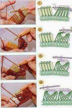 23 Ideas Crochet How To Broomstick Lace Crochet Instructions, Crochet Diagram, Crochet Chart, Crochet Motif, Diy Crochet, Crochet Edgings, Crochet Tunic, Freeform Crochet, Crochet Dresses