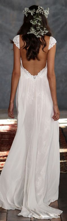 Pretty bare back Phaedra wedding dress from Romantique by Claire Pettibone https://romantique.clairepettibone.com/collections/bohemian-rhapsody-boho-wedding-dresses/products/phaedra