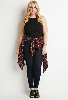 Plus Size Flat-Front High-Waisted Skinny Jeans | Forever 21 PLUS - 2000117617