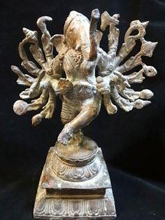Sri Ganesha bronze statue dancing like his father shiva with multi hands Spiritual hindu ritual