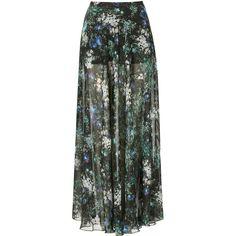 TOPSHOP Floral Split Maxi Skirt (305 BRL) ❤ liked on Polyvore featuring skirts, bottoms, saias, maxi skirts, topshop, black, short maxi skirt, flower print skirt, floral print skirt and long floral skirts