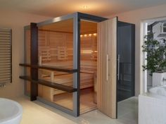 Steam rooms or Home Saunas. 10 Amazing Home sauna or steam room Ideas and Designs for indoor and outdoor relaxation at home. Home Steam Room, Sauna Steam Room, Steam Bath, Sauna Room, Saunas, Steam Room Benefits, Private Sauna, Sauna Design, Construction