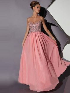 A-Line/Princess Sweetheart Sleeveless Chiffon Floor-Length Dresses - Long Prom Dresses - Prom Dresses