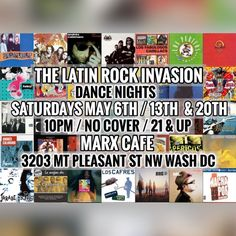 Our second night this month at Marx Cafe! — Come and dance to a night full of all your favorite Rock en Español songs! Get a 10% discount from your tab at tickeri: https://www.tickeri.com/events/59106ad0ba6709000b58d097/the-latin-rock-invasion-dancing-night