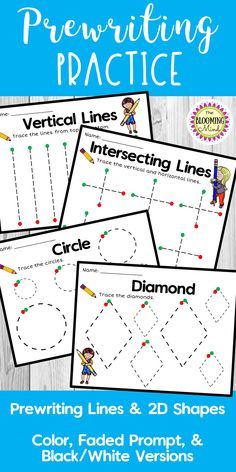 Promote fine motor and visual perception skills with these 5 pre-writing lines and 11 shape tracing mats. These sheets are perfect for Preschool or Kindergarten. Fine Motor Activities For Kids, Preschool Learning Activities, Preschool Curriculum, Preschool Kindergarten, Homeschooling, Visual Motor Activities, Visual Perception Activities, Pre K Curriculum, Shape Activities