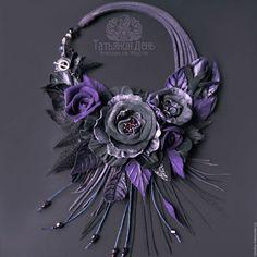 "Fabulous leather necklace   Кожаное колье ""Королева ночи"" — работа дня на Ярмарке Мастеров"