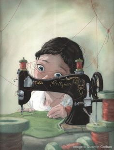 Girl at the sewing machine - illustration by Quentin Greban