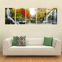 Pf5002 impresso 5 peças painel de pintura a óleo na parede lona de arte fotos para decoração de casa queda red folhas e mountain nascentes de água