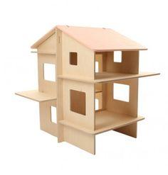 Modern Dollhouse RayRay by Momoll Cardboard Dollhouse, Dollhouse Kits, Wooden Dollhouse, Wooden Dolls, Girls Dollhouse, Modular Walls, Small Wood Projects, Decoration Design, Barbie House