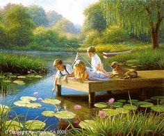 Children fishing at the pond with thier dog Artists For Kids, Art For Kids, Robert Duncan Art, Image Deco, Thomas Kinkade, Wow Art, Gone Fishing, Fishing Hole, Country Art