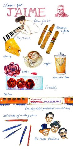 Roland Barthes's Favorite Things Illustration by Lynore Avery. Details and prints and the link.