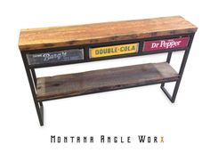 Vintage Soda Crate Buffet Table / Sofa Table, Montana Barn Wood, Refined Industrial Table, Sideboard, Upcycled, Vintage Industrial