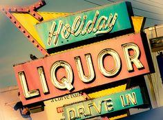 Holiday Liquor  | #retro #vintage #sign #blue #orange #teal #yellow #neon