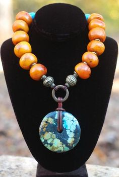 Soul Of Tibet Copal Amber and Turquoise Donut Pendant Necklace