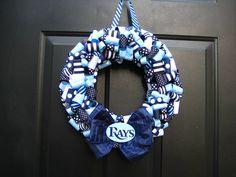 Tampa Bay Rays Ribbon Wreath Custom Any by APinkLemonadeDesigns