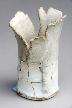 jane wheeler chun glazed beaker with crackle slip and impressed porcelain layer 14 x 11cm small