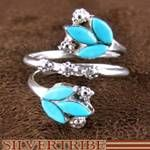 Zuni Indian Authentic Sterling Silver and Turquoise Adjustable Ring Native American Jewelry