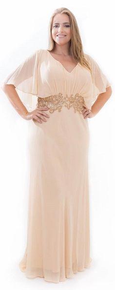 Vestido para mãe da noiva longo rose, plus size - long dress