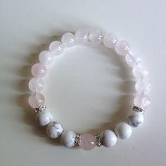 Healing Anger ~ Genuine White Howolite & Rose Quartz Bracelet w/ Swarovski Crystal Spacers on Etsy, $26.00