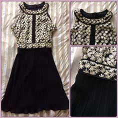 ✨ Modcloth gold embroidered floral black Dress NEW Beautiful and super flattering black dress with gold metallic tiny floral bodice and tiny accordion pleated skirt bottom. Fit and flare style. Size M looks great for a  night out dress  party dress  formal  prom  ModCloth Dresses