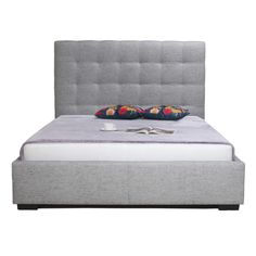 Moes - Belle Storage Bed King Light Grey Fabric