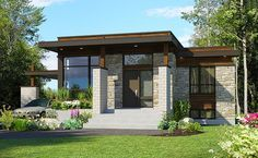 Front elevation of Bungalow home (ThePlanCollection: House Plan Small Modern House Plans, Small House Design, Modern House Design, Modern Houses, Bungalow Haus Design, Modern Bungalow Homes, Casa Loft, Master Suite, House Layouts