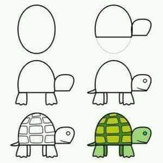your time and you'll be able to learn how to draw this cute cartoon turtle. :)Take your time and you'll be able to learn how to draw this cute cartoon turtle. Easy Drawings For Kids, Drawing For Kids, Art For Kids, Toddler Drawing, Simple Drawings, Drawing Lessons, Art Lessons, Doodle Art, Doodle Drawings