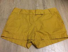 """J.Crew Women's Mustard Yellow Broken-in Chino 3"""" Cotton Flat Front Shorts Size 2 #JCrew #KhakiChino"""