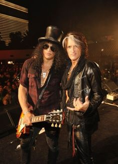Party like a rock star! Slash and Joe Perry (Aerosmith) Love it!