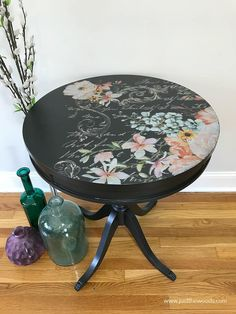 Refinishing furniture can mean so many things. Today I am sharing how to refinish a table with metallic paint and a fabulous floral image transfer. Decoupage Coffee Table, Decoupage Furniture, Hand Painted Furniture, Refurbished Furniture, Paint Furniture, Repurposed Furniture, Furniture Making, Furniture Makeover, Cool Furniture