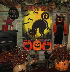 Primitive Fall Halloween Pumpkin Jack-O-Lantern Black Cat Bats Garden Flag Sign #NaivePrimitive