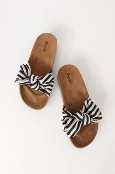 Pair the Dana Point Black and White Striped Espadrille Slide Sandals with cut-of. Pair the Dana Point Black and White Striped Espadrille Slide Sandals with cut-off shorts and head out to the beach! Sandals Outfit, Cute Sandals, Cute Shoes, Slide Sandals, Me Too Shoes, Bow Sandals, Camper Sandals, Shoe Boots, Shoes Heels