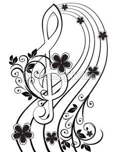 Fond musical avec une clé de sol et un motif de fleurs — Illustration #8706613