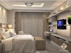 Modern Master Bedroom, Tv In Bedroom, Modern Bedroom Design, Home Office Design, Modern Room, Bedroom Decor, Small Apartment Interior, Bedroom False Ceiling Design, Suites