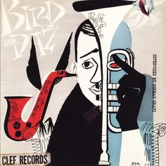 "Charlie Parker & Dizzy Gillespie ""Bird and Diz"" Mercury Records 512 LP Vinyl Record, Album Cover Art by David Stone Martin Music Covers, Album Covers, Charlie Parker Bird, Cover Art, Lp Cover, Graphic Design Illustration, Illustration Art, David Stone, Graffiti"